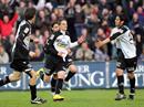 Aaraus Sandro Burki, Steven Lang, Giuseppe Rapisarda und MIchele Polverino nach dem 1:0.