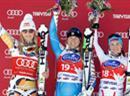 Lindsey Vonn, Anja Pärson und Elisabeth Goergl auf dem Podest.