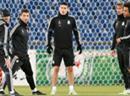 Training von Real im St. Jakob-Park. Von links: Trainer Carlo Ancelotti, Cristiano Ronaldo, James Rodriguez, Fabio Coentrao und Marcelo.