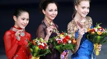 Satoko Miyahara, Elisaweta Tuktamyschewa und Jelena Radionowa.