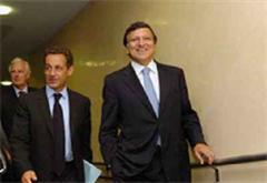 Der EU-Ratsvorsitzende Nicolas Sarkozy und EU-Kommissionspräsident José Manuel Barroso.