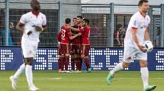 Vaduzer jubeln nach dem Penalty-Tor zum 1:0 duch Armando Sadiku.