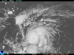 Lage des Hurrikan Ivan in der Karibik heute morgen.
