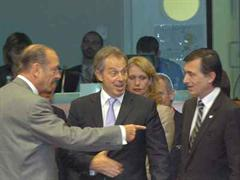 Jacques Chirac, Tony Blair und Philippe Douste-Blazy am EU-Gipfel.