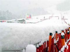 Verschneiter Zielhang in Kitzbühel.