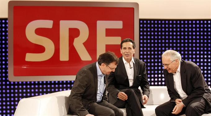 SRF-Chefredaktor TV Diego Yanez, Talkmaster Roger Schawinski und SRF-Direktor Rudolf Matter.
