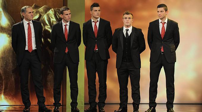 U21-Nationalmannschaft, v.l.n.r Trainer Pierluigi Tami, Fabian Frei Granit Xhaka, Xherdan Shakiri, Philippe Koch.