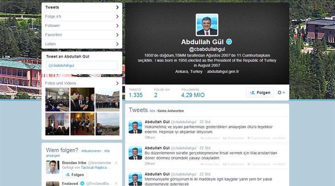Twitter des türkischen Präsidenten Abdullah Gül.