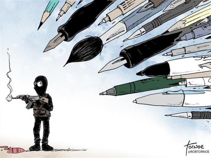 Hommage an Charlie-Hebdo.