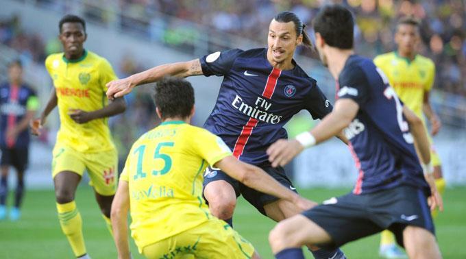 Zlatan Ibrahimovic im Einsatz gegen Nantes.